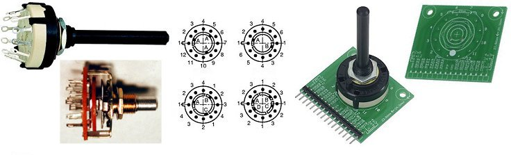 rotary switches with solid shaft and PCB